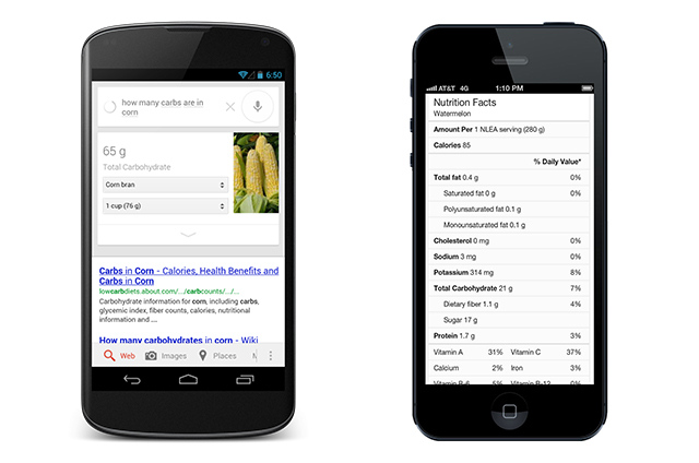 Google adds nutrition info for over 1,000 foods to search results